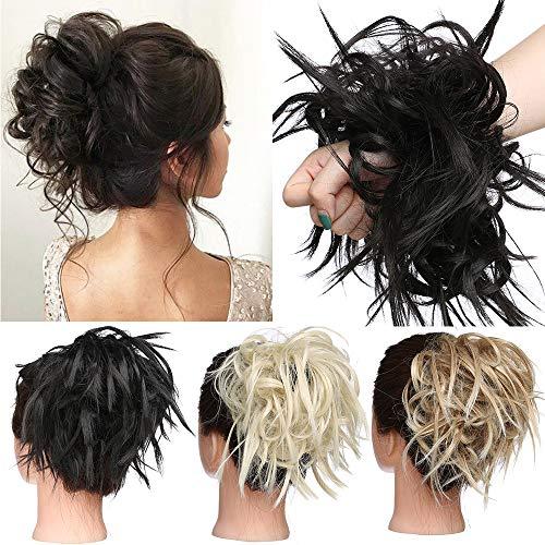 TESS Haarteil Dutt Haargummi mit Haaren Glatt struppige Haarknoten Hochsteckfrisuren günstig Haarverlängerung für Frauen 45g Naturschwarz