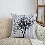 Fundas de cojines sencillas y clásicas de 45 x 45 cm,Lonely Tree Blanco y negro Otoño Invierno Ramas Minions at,ideales para casa, oficina o para la espalda en el coche - Fundas de Poliéster para sofá