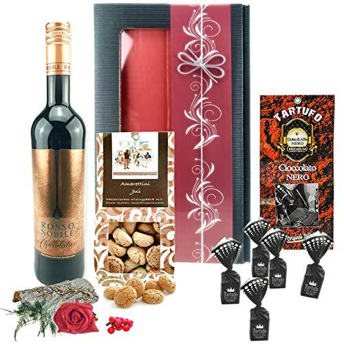 """♥ Geschenkkorb """"Genießer"""" – das ideale Genussgeschenk mit Rotwein und Schokolade zum Geburtstag"""