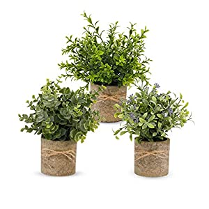 3Pack Mini Artificial Potted Plants,Faux Eucalyptus Plants Topiary Plant Fake Plastic Plant Flower Rosemary Gypsophila Green Small Potted Artificial Plant Set for Home Office Kitchen Decoration.
