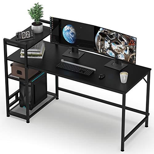 HOMIDEC Computer Desk, 140cm Computer Desk with Bookshelf, Study Computer Laptop Table with 4 Tier...