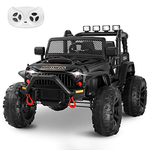 HOMFY Kids Ride on Truck Toy 12V Electric Vehicles Motorized Toddler Realistic Off-Road UTV Car with 2.4G Parental Remote Control, MP3/Bluetooth Player, LED Light, Two Boxes (Black)