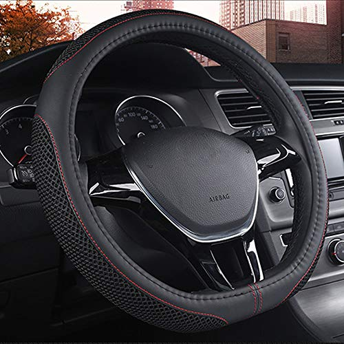 DC Steering Wheel Cover D Type Microfiber Leather with Viscose Anti-Slip Universal 15'/38cm (D-Type Black)