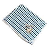 Steiff Nickidecke mit Ihrem Wunsch-Namen bestickt 90 cm x 60 cm blaue Ringeldecke allure blue personalisierte Namensdecke mit Streifen