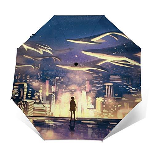 SUHETI Paraguas automático de Apertura/Cierre,Pintura al óleo Pintada a Mano de Arte Moderno,Mundo de Cuento de Hadas,enjambre de Ballenas y Adolescentes en el Suelo Volando sobre la Ciudad Nocturna
