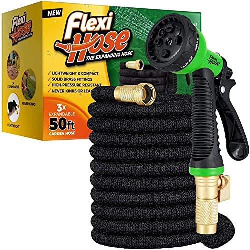 Flexi Hose Tuyau d'arrosage, Tuyau d'arrosage Rétractable,Tuyau d'arrosage Extensible Vert Extensible Rétractable avec 8 Fonction Pistolet (50 FT, Black)