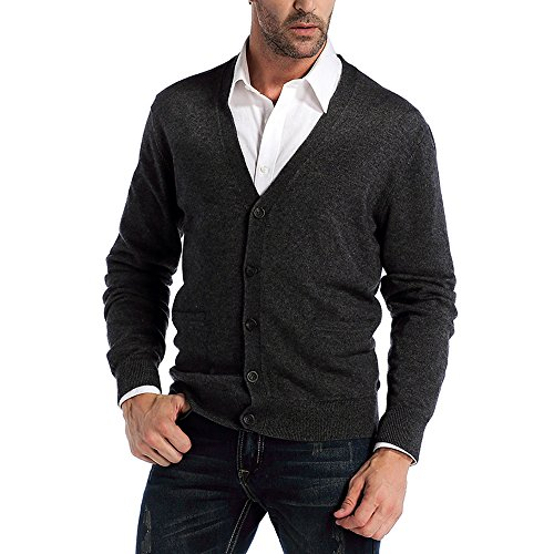 Kallspin Men's Cashmere Wool Blended Cardigan Sweater Relax Fit V-Neck Knitted Sweaters with Buttons & Pockets Charcoal