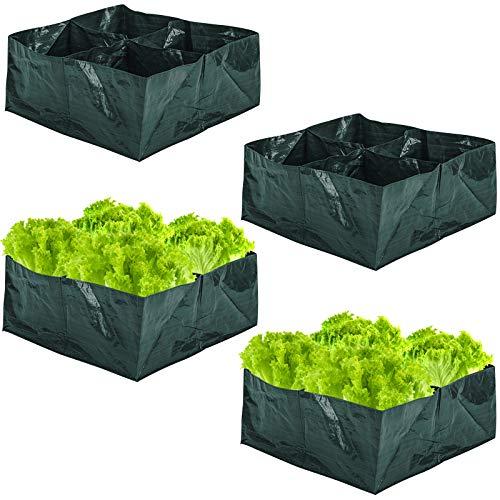 ZeeDix 4 Pack Fabric Raised Garden Bed- 4 Divided Grids Square Raised Garden Planter Grow Pot for...