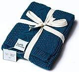 "Sweet Acorn Knitted Baby Blanket, Organic Cotton Yarn, 30"" x 43.5"" (Deep Sea)"