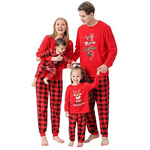 Weihnachten Pyjamas Set Chrismas Hirsch Weihnachtsanzug Drucken Nachtwäsche Baby Strampler Weihnachtspullover Familie Schlafanzüge Top Pullover Damen Herren Hausanzug Mama Papa Kind Winter Warme