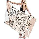 Toallas de Playa Boho Ornamental Flor de Loto diseño de Tatuaje de Henna Toalla de Piscina Esterilla de Yoga Seque Rápidamente Absorbente Prevención de Arena para Viaje 80*130 cm