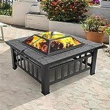 YILUFA Fuego pozo portátil del cuenco del fuego del metal del patio del patio con los accesorios negro para el patio trasero del jardín