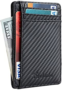 Travelambo Front Pocket Minimalist Leather Slim Wallet RFID Blocking Carbon Fiber Texture Black