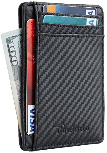 Travelambo Front Pocket Minimalist Leather Slim Wallet RFID Blocking Medium Size(Black Carbon)