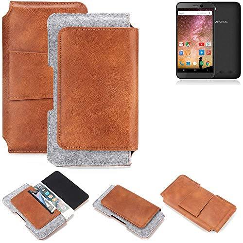 K-S-Trade® Schutz Hülle Für Archos 40 Power Gürteltasche Gürtel Tasche Schutzhülle Handy Smartphone Tasche Handyhülle PU + Filz, Braun (1x)