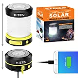 Kizen Collapsible Camping Lantern - USB & Solar Rechargeable Lanterns for Camping, Hiking, Emergency and Outdoor - Power Outage Supplies - Yellow