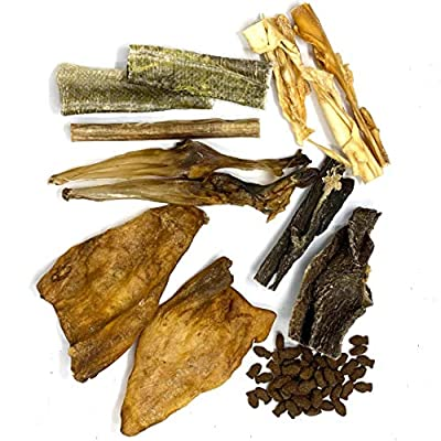 Dragonfly Products Mixed Variety Natural Dog Treat Pack: Skinny Pizzles Pork Spaghetti, Rabbit Ears, Cows Ears, Whitefish Jerky Bites, Lamb Meat (Puppy Chew Pack)