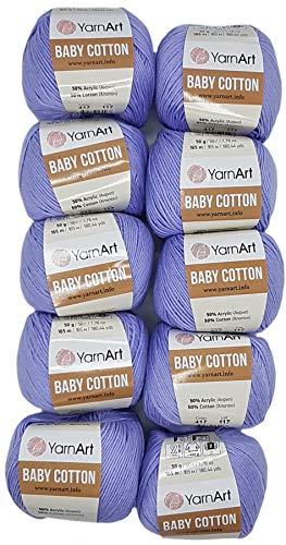 10 x 50g Strickwolle YarnArt Baby Cotton mit 50% Baumwolle, 500 Gramm Wolle einfarbig (flieder 417)