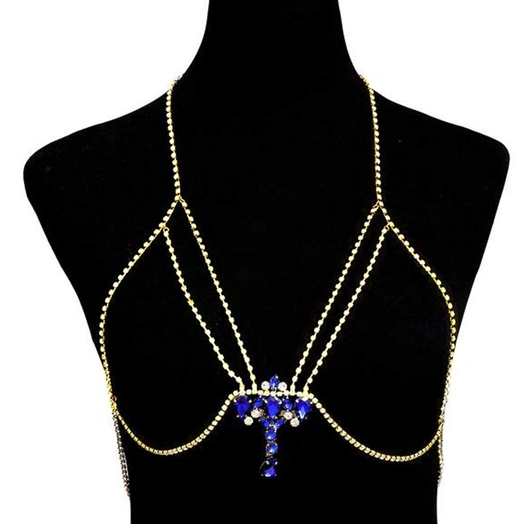 Chicque Rhinestone Body Chain Bra Gems Gold Bra Bikini Chain Beach Festival Body Jewelry for Women and Girls