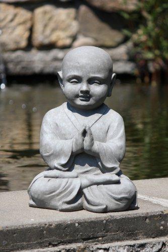 Figur Shaolin Mönch in Meditation – für Haus und Garten – Höhe 42 cm – grau - 2
