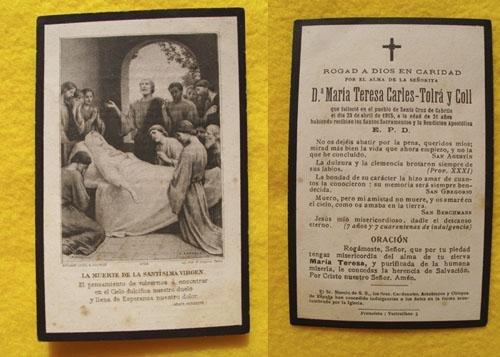 Antiguo Recordatorio Esquela - Old Reminder of Death : MARÍA TERESA CARLES - TOLRÁ Y COLL - Santa Cruz de Cabrils