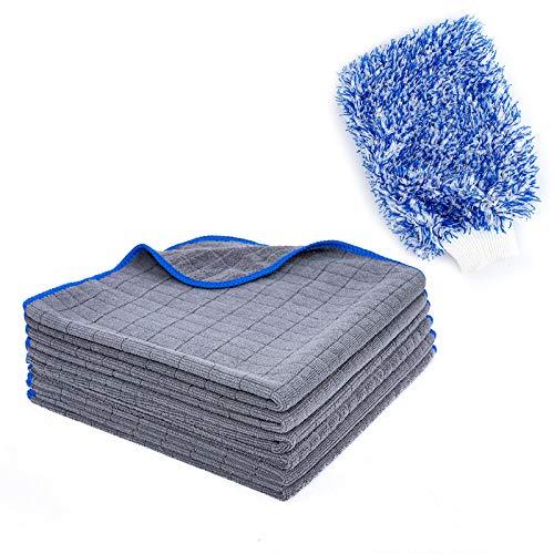 KEJA Mikrofaser Reinigungstücher Universal Poliertuch mit 380 GSM 6 Stück Plus Auto Waschhandschuh Premiumqualität lackschonend und fusselfrei 40 x 40cm