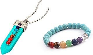 ZHEPIN 7 Chakra Stones Pendant Necklace Healing Point Fashion Pendant Bead Chain Beaded Bracelet Set