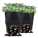 Alumuk Pflanztasche, Pflanzsack aus Vliesstoff - 10 Gallonen, ca. 40 Liter - 2er Pack - Garten Übertopf Pflanztopf Gemüse Gartensack für Kartoffeln Tomaten Erdbeeren mit Klappe und Griffen (Schwarz)