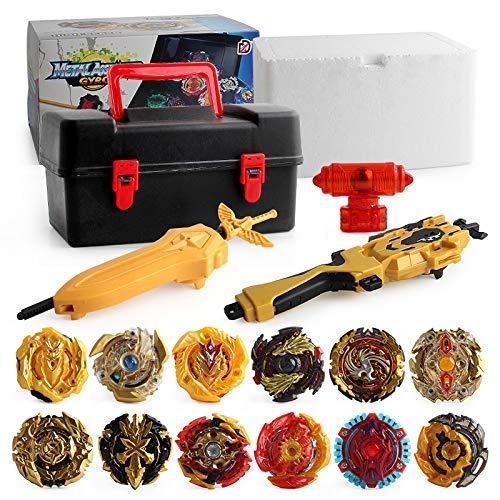 Mitfun Metal Fusion Battling Top Burst Launcher Grip Set Storage Box Top Burst Gyros 4D with Launcher Burst Toys for Children
