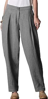 FTCayanz Women's Linen Pants Elastic Waist Long Tapered Pants Trousers Slacks