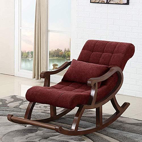 HZYDD Silla de Mecedora de Madera nórdica, sillón reclinable en la Silla Mayor for Adultos Sofá Ocio Balcón Fácil Silla, Rojo, Rojo, Color Nombre: Rojo (Color : Red)
