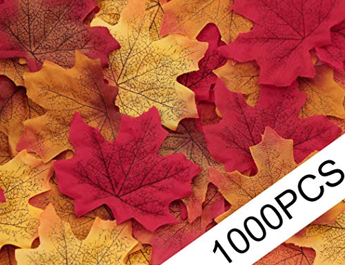 Moon Boat 500PCS Fall Artificial Maple Leaves Decorations - Thanksgiving Autumn Leaf Wedding Party Table Decor