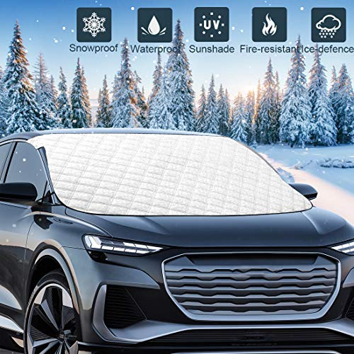 "Mumu Sugar Upgrade Version Car Windshield Snow Ice Cover, 78.7""x48"" Extra Large 5 Layers Protection, Snow,Ice,Sun Shade,Frost Defense,Windshield Winter Cover for Most Cars Trucks Vans and SUVs"