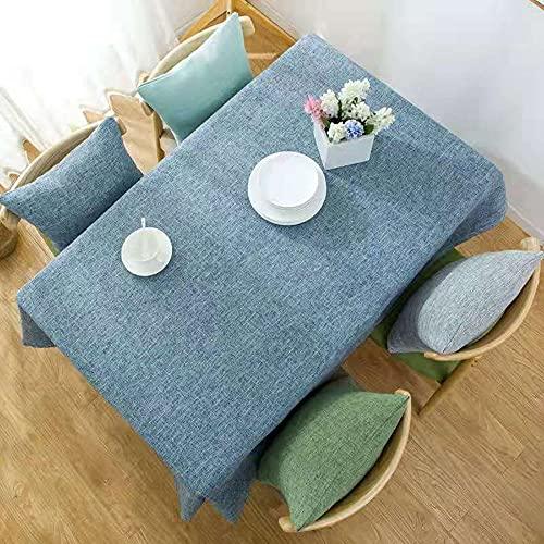 KUATAO Iinen - Mantel simple y generoso para mesa, fácil de limpiar, multicolor, opcional, 90 x 140 cm, 140 x 220 cm, color azul claro