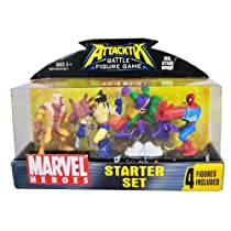 Attacktix Year 2006 Battle Figure Game 4 Pack Marvel Heroes Starter Set - Sabretooth, Wolverine, Green Goblin and