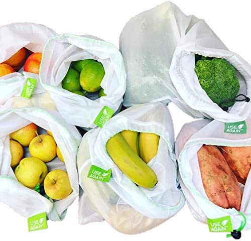 8 Pack UseAgain Zero Waste Reusable Produce Bags   Drawstring   Medium & Large Sizes in White   Extra Strong, Washabl...