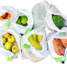 8 Pack UseAgain Zero Waste Reusable Produce Bags | Drawstring | Medium & Large Sizes in White | Extra Strong, Washable, Se...