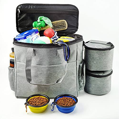 Dog Travel Bag,Multi-Function Pockets Airline Approved Tote Organizer,Food Container Bag and Collapsible Bowl