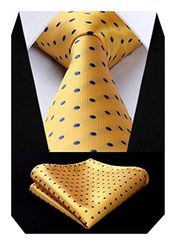 BIYINI Corbatas y Pañuelo Amarillo de Hombre Clásico Polka Dot Modernas Conjunto Corbata de Boda Business Partido