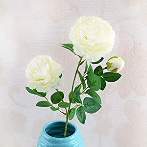 Artificial and Dried Flower Long Brah Artificial Flower Rose Daffodil Peony Fake Flower Wedding Party Decoration Flowers for Crafting Party Accessories – ( Color: 1-White )