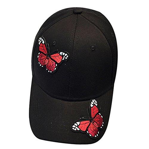 Vanvler Women Men Couple Applique Butterfly Baseball Cap Unisex Hip Hop Flat Hat (Black)