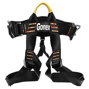 Gonex Arnés de Escalada en Roca Cinturones Cuerda de Seguridad para Montañismo Alpinismo Expedición Bomberos Banda Deportes Rappel Ajustable Equipo Medio Cuerpo para Mujer Hombre Niños