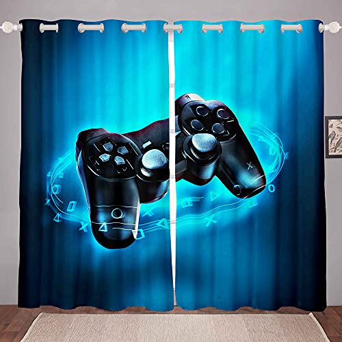 Gaming Curtain for Boys Game Room Decor Gamer Curtains Teens Kids Playing Video Game Window Treatments Drapes with Grommets Game Controller Window Curtain 42W X 63L Inches Set of 2 Panels Blue