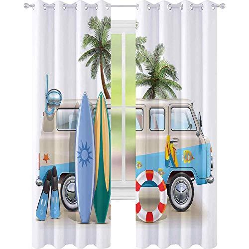 cortinas de dormitorio, Surfing Weekend Concept con elementos de buceo aletas snorkel y Van Trip Relax Paz, 2 paneles de W52 x L72 sala de estar dormitorio cortinas de ventana, multicolor