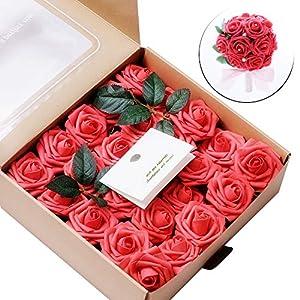 Rosas de flores artificiales, 50 piezas rojas reales de espuma de tacto Rosas para ramos de bricolaje, decoración de fiestas, baby shower, decoración para el hogar