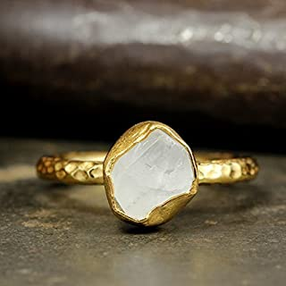Natural Raw Quartz Stacking Ring Handcrafted Hammered 24K Yellow Gold Vermeil 925 Solid Sterling Silver Stackable Rough Gemstone Ring