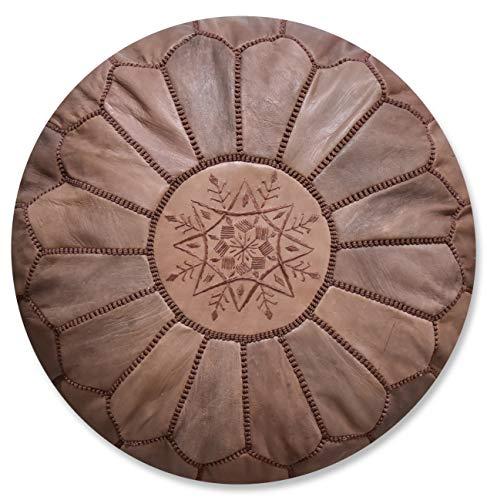 Poufs&Pillows Marokkanischer Echtleder Pouf - Handgefertigt - Gefüllt Geliefert - Ottoman, Sitzsack, Fußhocker, Puff (Braun)