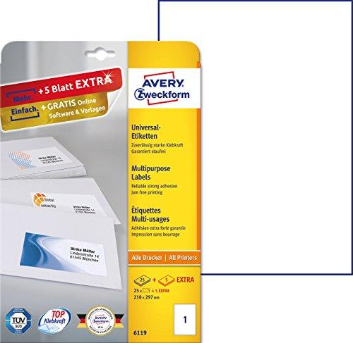Avery 3470 - Etiquetas universales (210 x 297 mm, para todas las impresoras A4), 25 unidades, color blanco
