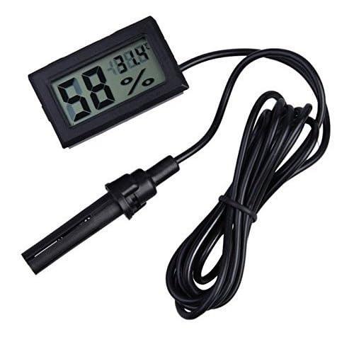 ARCELI 2-in-1 LCD digitale con termometro e igrometro incorporato per incubatore di rettili Acquario - nero