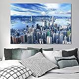 KWzEQ Paisaje póster Arte de la Pared Hermosa Ciudad de Hong Kong Paisaje Imagen decoración de la Sala de Estar,Pintura sin Marco,75x112cm